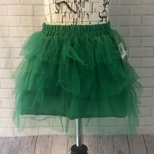 NWT tulle skirt green mini costume dress up